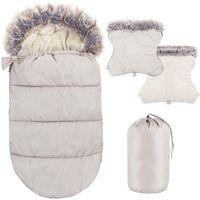 Śpiworek do wózka 4w1, mufka, śpiwór do sanek, gondoli z torbą 90 cm beżowy