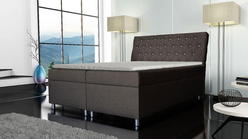 Łóżko tapicerowane kontynentalne 140x200 z materacem pojemnikiem zdjęcie 6