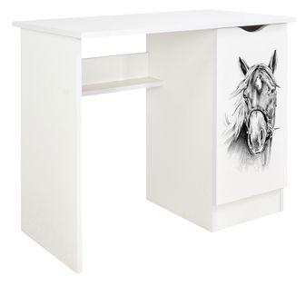 Białe biurko z szafką /czarno-biały motyw/
