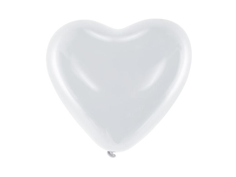Balony 10'' Serca, Pastel biały 100 szt na Arena.pl
