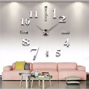 Zegar ścienny , przyklejany na sciane srebrny 3d Best Seller
