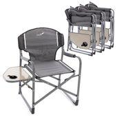 Zestaw 4 krzeseł do wędkowania Krzesło kempingowe Krzesło z uchwytem na napoje Szare