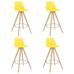 Lumarko Stołki barowe, 4 szt., żółte, PP i lite drewno bukowe