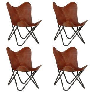 Lumarko Krzesła typu motyl, 4 szt., brązowe, dziecięce, skóra naturalna