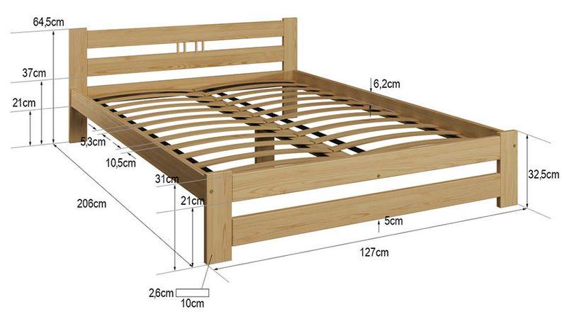 łóżko Wysoki Zagłówek Esm2 140x200 Szare Stelaż