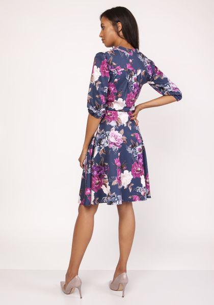 Wzorzysta sukienka z lekko rozkloszowanym dołem - Granatowy 44 zdjęcie 2
