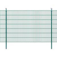 VidaXL 2D Panele i słupki ogrodzeniowe 2008x1430 mm 2 m zielone