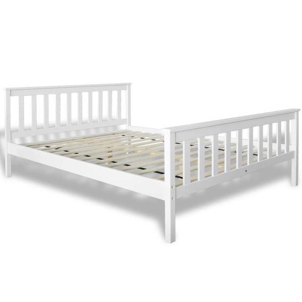 Łóżko z materacem z pianką memory, 140x200 cm, sosnowe, białe zdjęcie 5