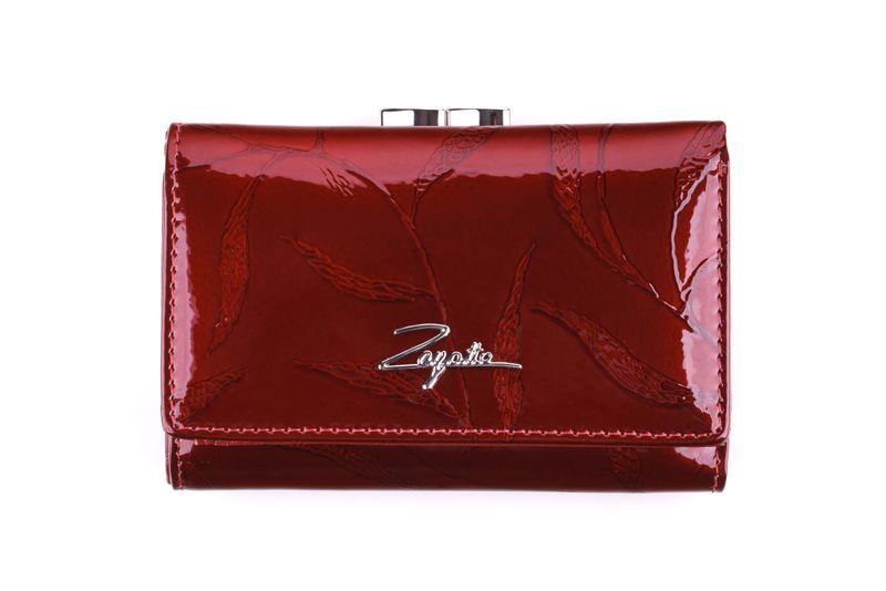 Mały portfel skórzany damski Zagatto czerwony liście RFID ZG-117 Leaf zdjęcie 2