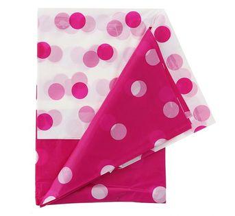 Obrus grochy pink Roczek Urodziny Party 128x181cm
