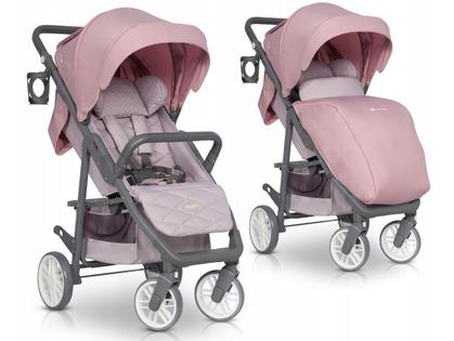 Euro-Cart FLEX wózek spacerowy do 22kg +ocieplacz Powder Pink