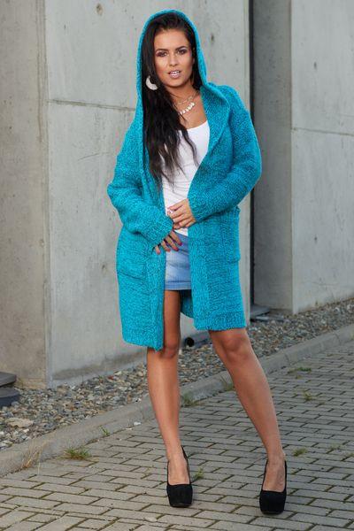 Mięciutki otulający Kardigan sweter melanż 103 zdjęcie 2
