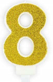 Świeczka na tort cyferka 8 złota brokatowa