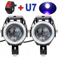 2 x halogen motocyklowy U7 LED+RING+ włącznik czarny
