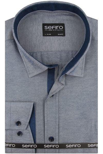 776a359ff70c29 Koszula Męska Sefiro gładka niebieska melanż SLIM FIT na spinki lub guzik  A117 - 45/