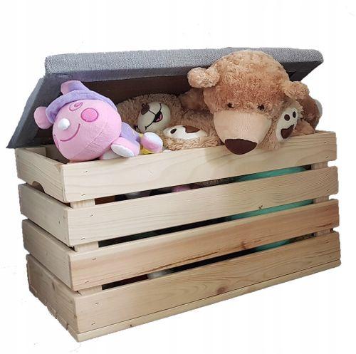 Drewniana skrzynia na zabawki eco pufa dla dzieci na Arena.pl