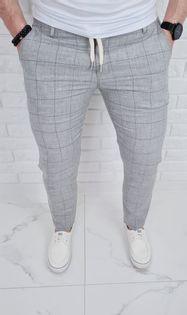 Szare spodnie lniane w krate meskie slim fit Silva-7 - 29