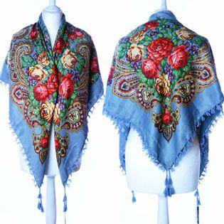 Kwiecista chusta apaszka szal z frędzlami ludowa