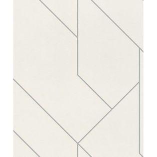 Tapeta Biało Srebrna Geometryczna BRICK LANE 427424