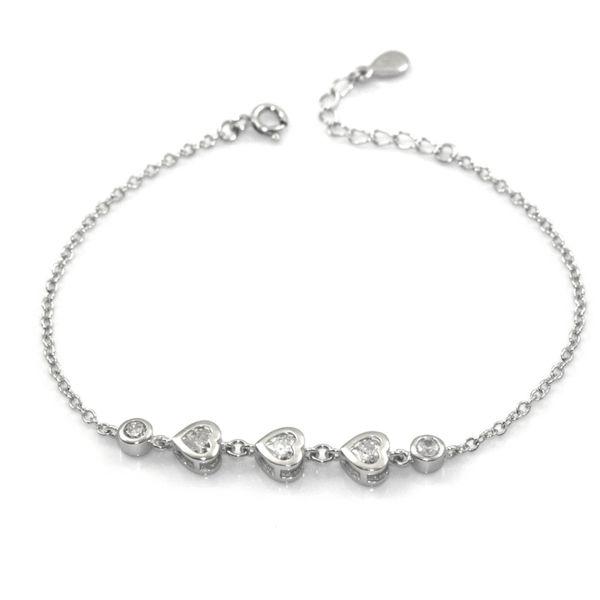 Bransoletka srebrna rodowana z serduszkami zdjęcie 1