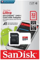 Karta pamięci microSDHC SanDisk ULTRA ANDROID 32GB 98MB/s A1 Class 10 UHS-I + adapter