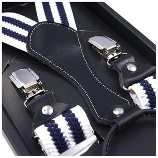 Białe szelki do spodni z granatowymi paskami SZ51