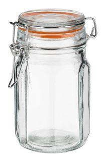 Pojemnik szklany hermetyczny słoik ośmiokątny EDO 260 ml pokrywka szklana metalowa klamra klips pomarańczowa uszczelka