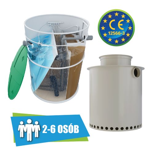 Oczyszczalnia ścieków VH6 PREMIUM 2-6 osób + studnia chłonna na Arena.pl