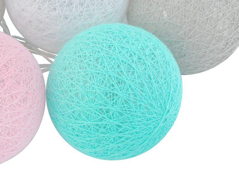 Cotton Balls Lampki Kule Dekoracyjne Led Baterie