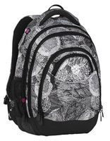 Lekki plecak szkolny Bagmaster trzykomorowy, czarny z białym ENERGY8A