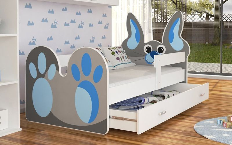 Łóżko KRÓLIK 140x80 + szuflada + materac zdjęcie 2