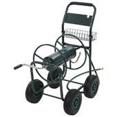 """Wózek na wąż ogrodowy ze złączką 1/2"""" , stalowy, zielony"""
