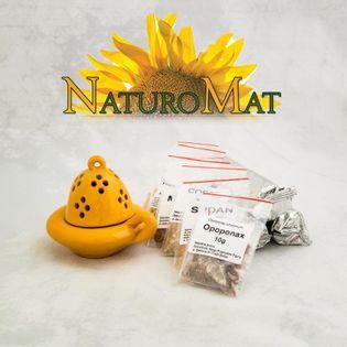 KADZIELNICZKA żółta + naturalne KADZIDEŁKA x7 + węgielki