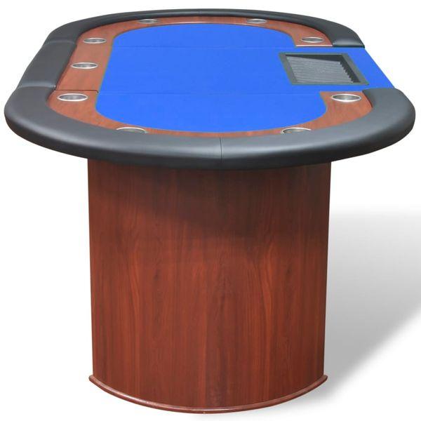Stół do pokera dla 10 graczy z tacą na żetony, niebieski zdjęcie 5