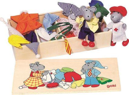 Myszki do ubierania w drewnianym pudełku