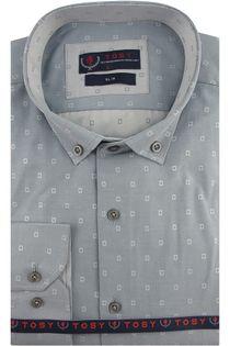 Koszula Męska Tosy szara w kwadraty z długim rękawem w kroju SLIM FIT A492 M 38 176/182