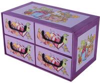 Pudełko Kartonowe 4 Szuflady Poziome Szkoła Przybory