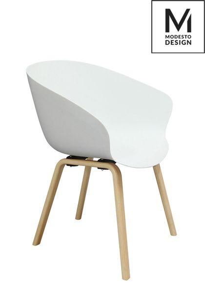 MODESTO fotel ANGEL biały - polipropylen, podstawa bukowa zdjęcie 6