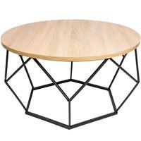 Stolik kawowy geometryczny Diament w kolorze czarny - jasny dąb 70 cm