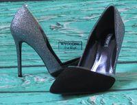 Brokatowe szpilki metaliczno czarne VICES