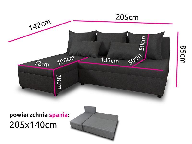 Tani narożnik rozkładany PONO z pojemnikiem - sofa rogówka łóżko zdjęcie 4