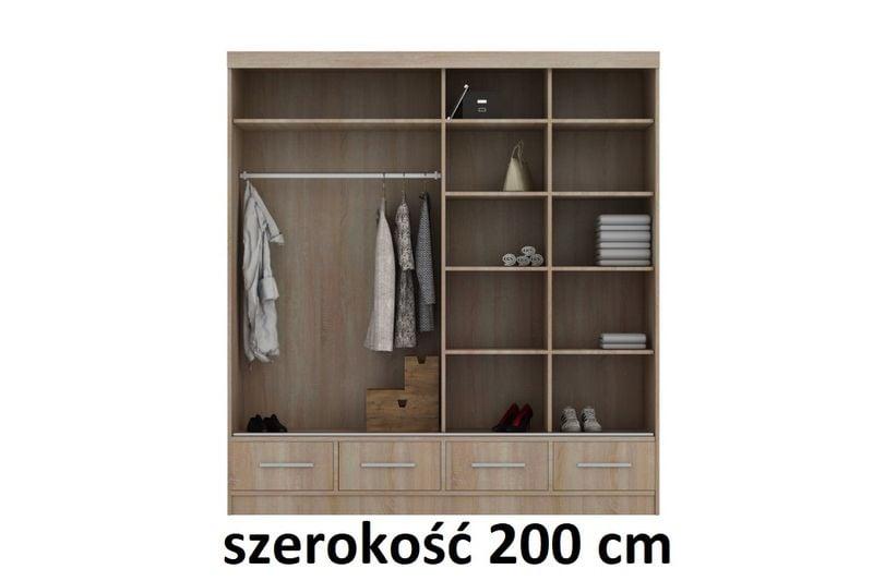 Szafa Przesuwna Na Ubrania Noemi 200 Cm Szuflady Półki Drążek