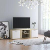 Szafka TV biel i dąb sonoma 120x34x37cm płyta wiórowa VidaXL