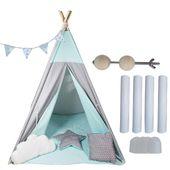 Namiot Tipi Softfun mint night mata + 3 poduszki bawełna MINKY