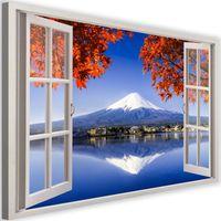 Obraz na płótnie - Canvas, okno - wulkan Fudżi 90x60
