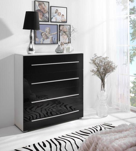 Komoda VERONA 4S biały /czarny połysk, 4 szuflady, do salonu, pokoju zdjęcie 1