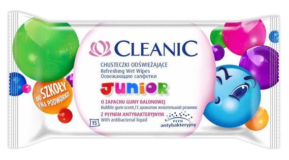 CLEANIC Junior Bubble Gum 15szt - chusteczki odświeżające z płynem antybakteryjnym