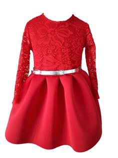 Czerwona sukienka z pianki 92cm Koronka Pasek