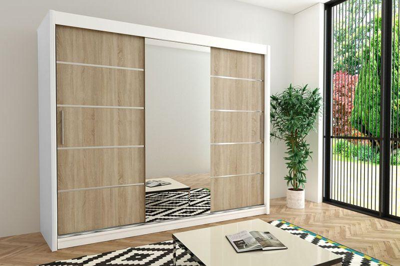Szafa przesuwna garderoba Verona 2-250 z lustrem biała wenge sonoma zdjęcie 4