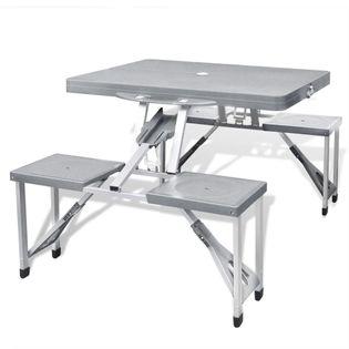 Lumarko Zestaw kempingowy stół+krzesła aluminium kolor szary